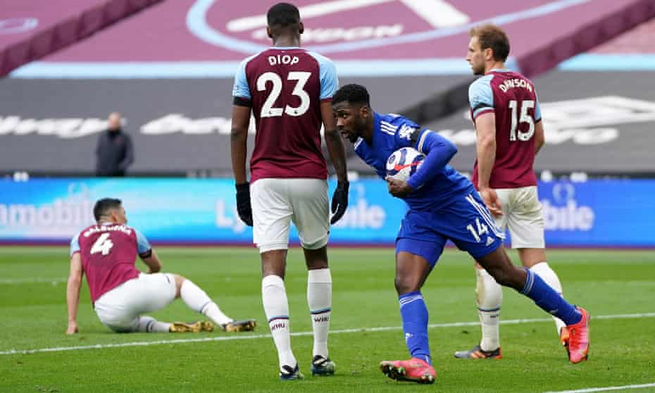 Leicester City's Kelechi Iheanacho (second right) scored twice to force a nervy finish for West Ham.