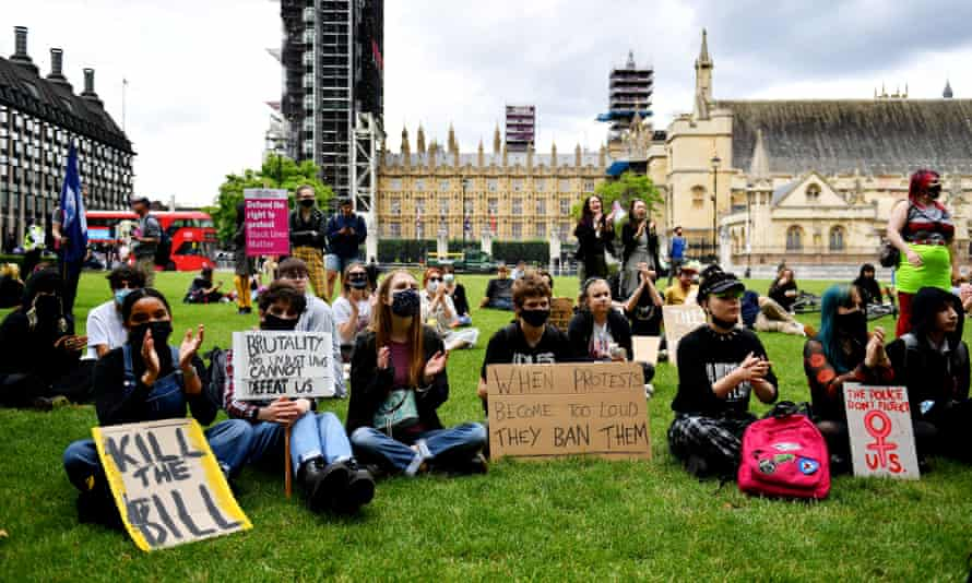 Protesters in London rally against the police, crime, sentencing and courts bill this month.