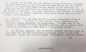 An excerpt from a document released by the National Archives.