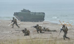 Soldiers take part in Nato military exercises in Poland last week