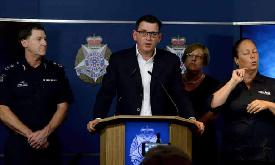 The deputy police commissioner, Shane Patton, the premier, Daniel Andrews, and the police minister, Lisa Neville