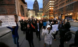 Protesters march in Detroit