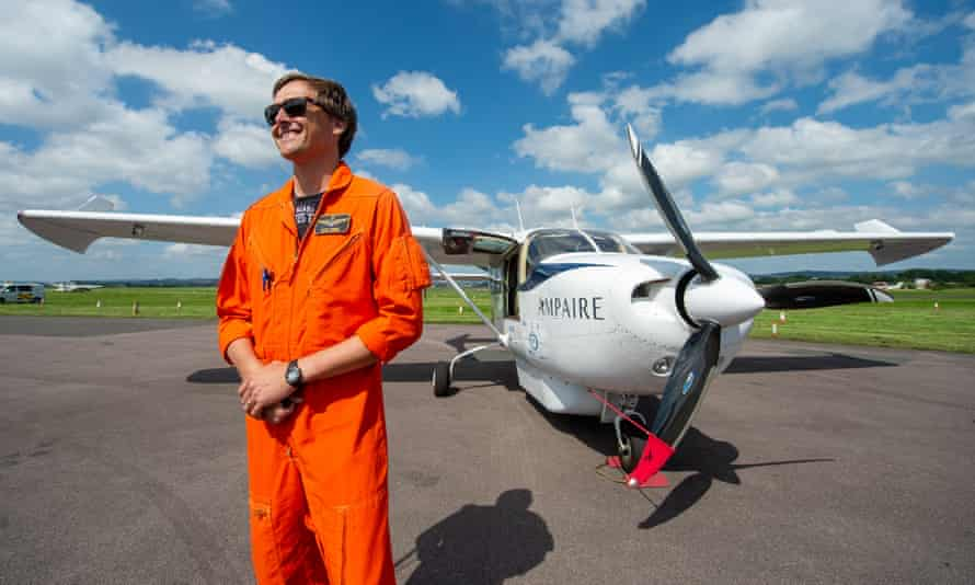 Test pilot Elliot Seguin with the electric plane before taking off for the debut flight.