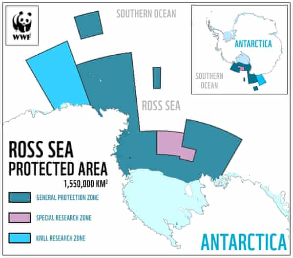 A map released by WWF showing the protected area of the Ross Sea