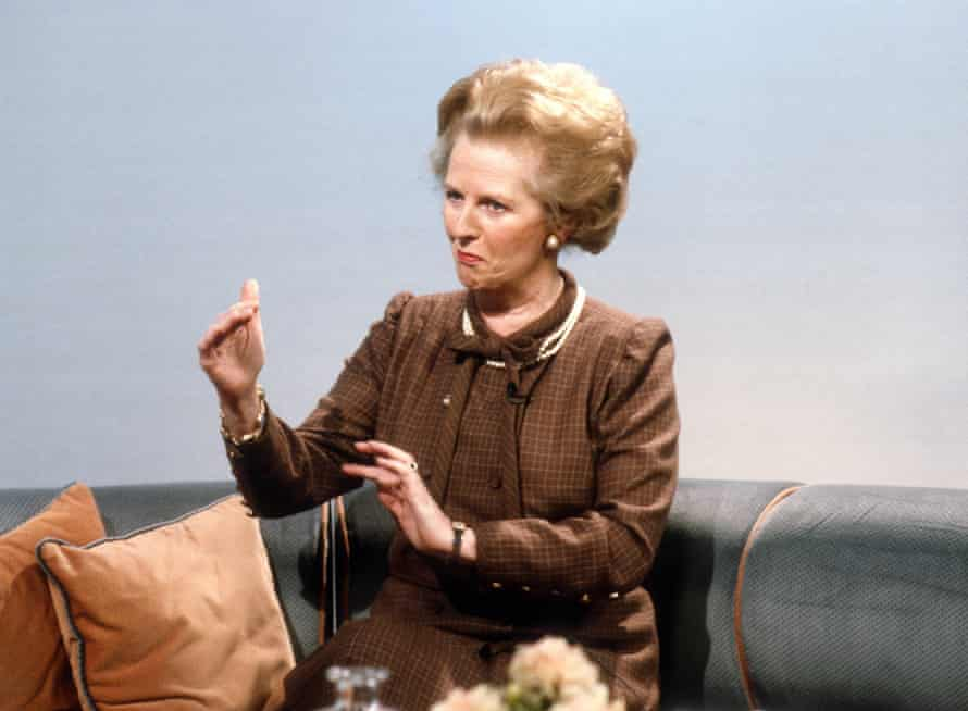 Thatcher on the set of Calendar at Yorkshire Television Studios in 1987.