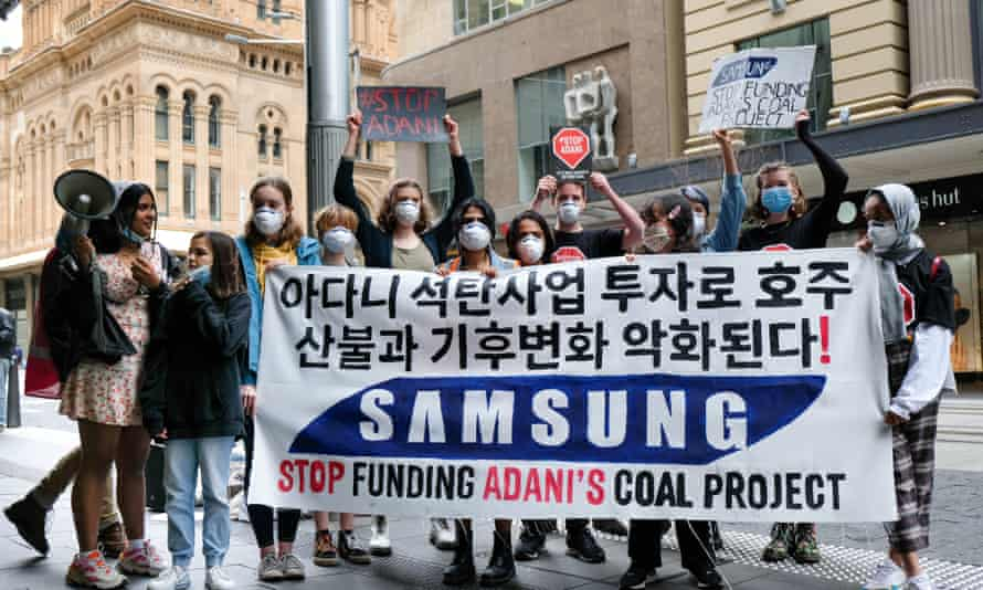 The School Strike 4 Climate Australia protest outside a Samsung store in Sydney on Wednesday.