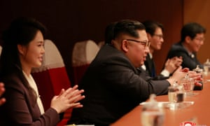 Kim Jong-un and his wife Ri Sol-ju watch the concert in Pyongyang on Sunday from which some South Korean journalists were mistakenly barred.
