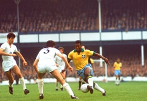 Pele surges forward during Brazil's 2-0 win over Bulgaria in their 1966 World Cup group game at Goodison Park.