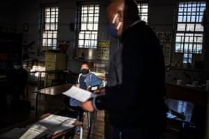 Pupils in darkened classroom