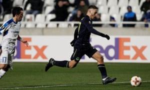 Everton's Nikola Vlasic races through before slotting home their third goal.
