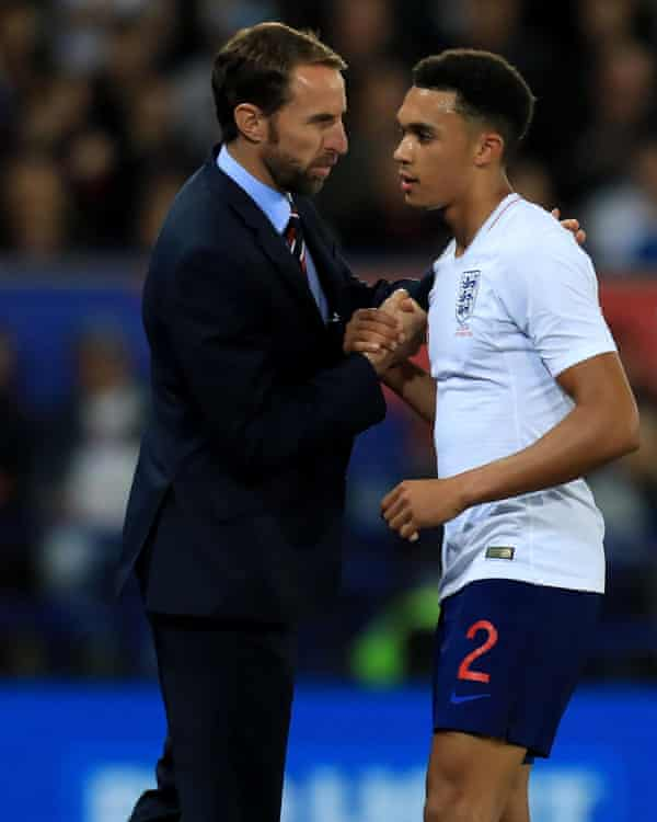 Got your back: England Manager Gareth Southgate with Trent Alexander-Arnold.
