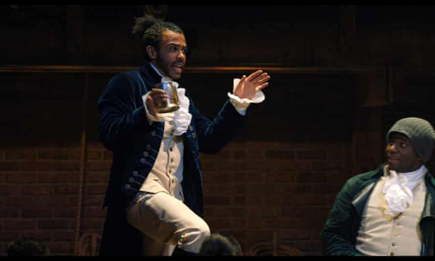 Daveed Diggs as Marquis de Lafayette and Okieriete Onaodowan as Hercules Mulligan in Hamilton, the filmed version of the original Broadway production.
