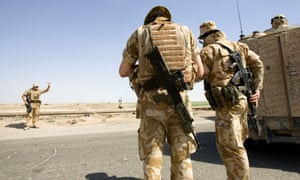 Members of the British army in Iraq, wearing body armour