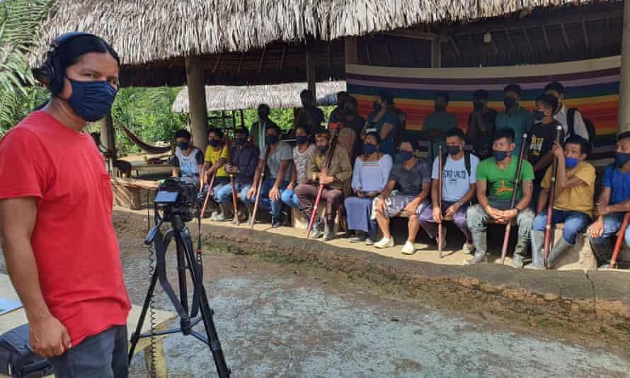 Filming with the Sarayaku people.