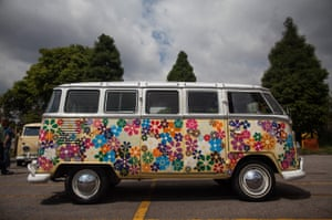 A Kombi painted in flowers at an exhibition in Brazil to mark the end of production of the famous vans.