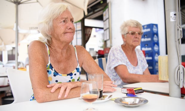 Pensioners Barbara, left, and Pauline at the Eagle Cafe Bar in Benalmadena, Spain