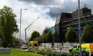 Firefighters tackle a blaze at Christie hospital