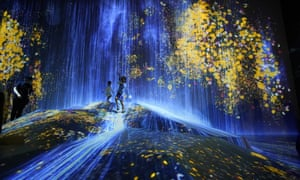 TeamLab at the Mori Building Digital Art Museum in Tokyo, Japan won the award for best digital experience. The exhibition is made up of 50 interactive artworks in a 10,000 square-metre space, including this installation featuring projections of flowers and a waterfall.