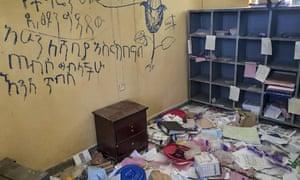 یک مرکز بهداشتی غارت شده در Debre Abay ، Tigray