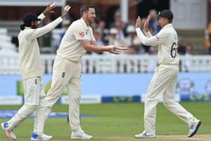 Ollie Robinson celebrates taking the wicket of India's Ishant Sharma.