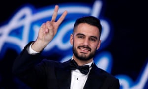 Palestinian singer Yaqoub Shaheen after winning the final of Arab Idol in Beirut.