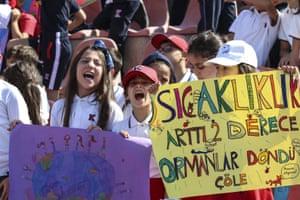 Students in Ankara, Turkey, protest