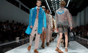 Models present Fendi's spring/summer 2018 menswear