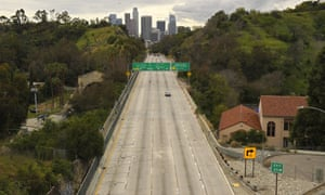 An unusually clear freeway close to Downtown Los Angeles during the coronavirus lockdown.