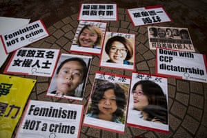"""Portraits of Li Tingting (top L), Wei Tingting (top R), (bottom, L-R) Wang Man, Wu Rongrong and Zheng Churan are pictured during a protest calling for their release in Hong Kong April 11, 2015. Chinese police are broadening their investigation into five detained women activists to focus on their campaigns against domestic violence and for more public toilets for women. The women were taken into custody on the weekend of International Women's Day, March 8, and later detained on suspicion of """"picking quarrels and provoking trouble,"""" their lawyers said."""