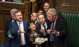 Tory MP Matt Hancock (centre) urges Commons Speaker John Bercow to look at a video clip of Jeremy Corbyn on a mobile phone, December 2018.