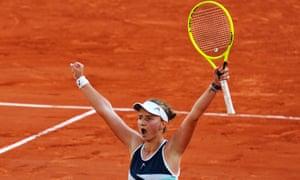 Barbora Krejcikova stands in disbelief after reaching her first ever grand slam final.