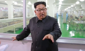 Kim Jong-un inspects a factory in Pyongyang.