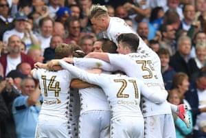 Leeds United celebrate celebrate their third, an own goal by Ipswich Town goalkeeper Bartosz Bialkowski