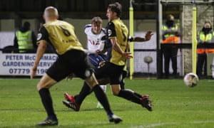 Tottenham Hotspur's Alfie Devine scores their fifth goal.