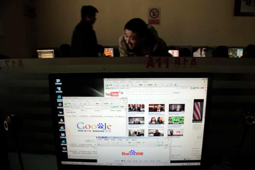 A computer display shows knockoff websites of both Google and YouTube in 2010.