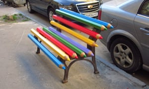 A pencil bench in Kiev, Ukraine.