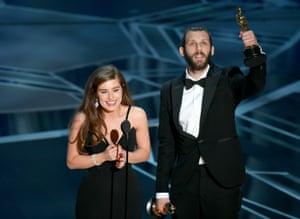 Filmmakers Rachel Shenton and Chris Overton accept Best Live Action Short Film for The Silent Child