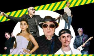 Clockwise from bottom left: Bono; Ariana; Pitbull; Sinéad Harnett; Clapton; Bieber; Van Morrison.