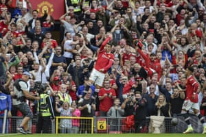 Man United's Cristiano Ronaldo celebrates after scoring his side's second goal against Newcastle at Old Trafford
