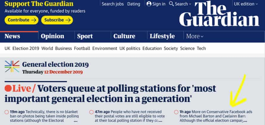 Michael Barton and Caelainn Barr's election ads analysis makes it to the top of the Guardian front page.