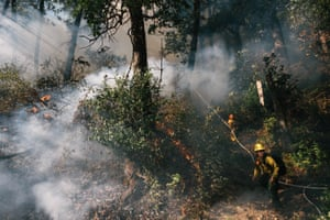 TREX participants maintain the line during the prescribed burn in Weitchpec, Calif. on October 4 2019.