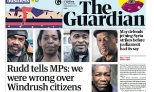 Guardian front page windrush 17th April 2018