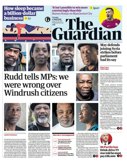 The Guardian's 17 April front page
