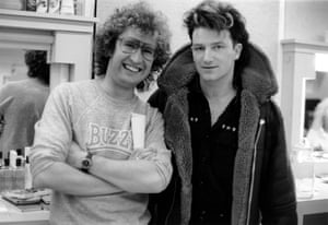 Malcolm Gerrie backstage at Tyne Tees with Bono of U2.