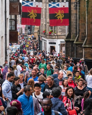 Crowds on the Royal Mile in Edinburgh, August 2018.