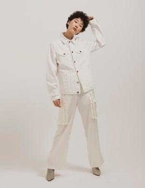 model wears trousers, £49, topshop.com. Jacket, £96.97, madewell.com. Boots, £238, ivyleecopenhagen.com.