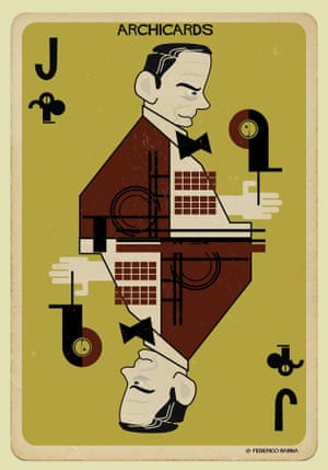 Walter Gropius portrayed in one of Federico Babina's Archicards