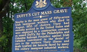 A sign at Duffy's Cut mass grave commemorates the deaths of Irish immigrant workers.