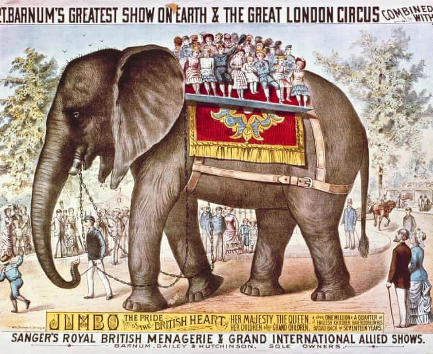 This undated poster provided by Feld Entertainment Inc, shows a poster depicting Jumbo the elephant, as part of the early days of the Ringling Bros and Barnum & Bailey Circus.