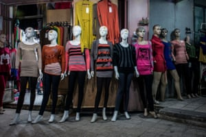 Manequins show off available clothing in a shop near the main street of Gaza.
